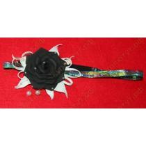 Повязка черный цветок с белыми листьями