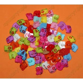Киски пуговки цвета микс, 14мм, 100 шт