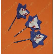 Цветочки синие с белым на невидимках