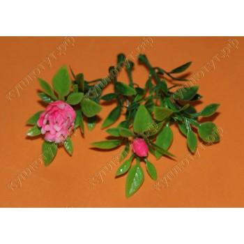 Веточки с розовым цветком и бутоном декор