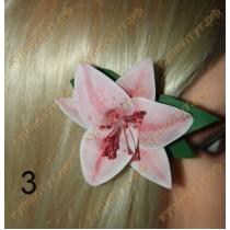 Лилия на зажиме 60мм, 4 цвета, 1шт.