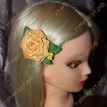 """""""Желтая роза"""" на зажиме 6см"""