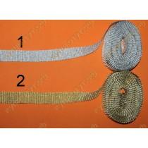 Лента парчовая гофр. 26мм, золото - серебро