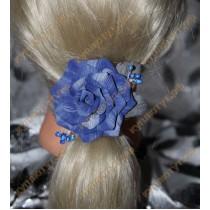 Синяя роза на резинке 1шт.