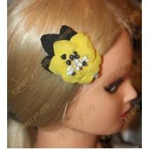 Купить Желтый цветок с черными листьями на зажиме 6см