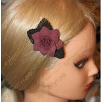 Купить Бордовый цветок с черными листьями на зажиме 6см