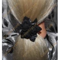 Черные цветочки на резинках 1шт.