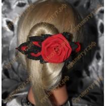 Красная роза с черными листьями на зажимах 12см 1шт.