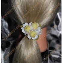 Желто-белые цветы на резинках 1шт.