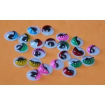 Глазки круглые 10мм, цветные, 15 пар, 30 штук