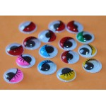 Глазки круглые 15мм, цветные, 15 пар, 30 штук