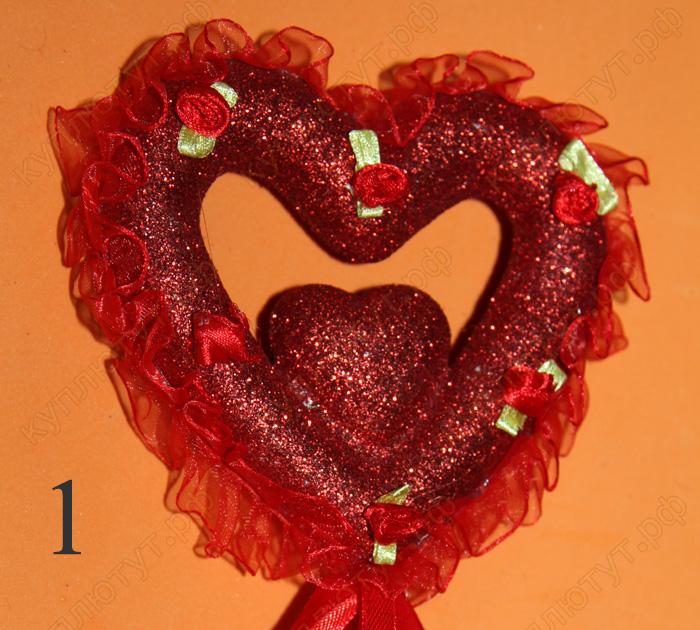 Сердце для украшения букета, 30см, 1шт