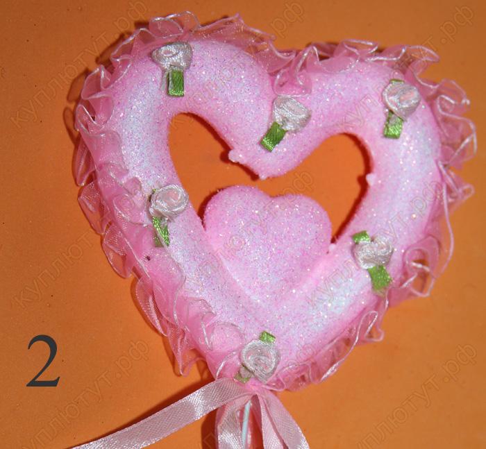 Розовое Сердце для украшения букета, 30см, 1шт