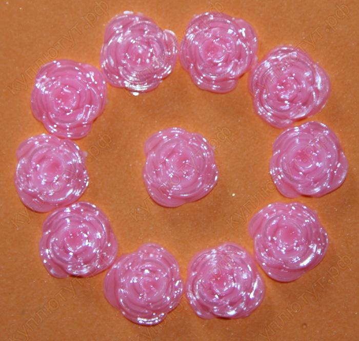 Розовые розочки, 12мм, 15 штук.
