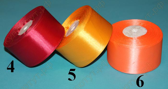 лента атласная, красный желтый оранжевый
