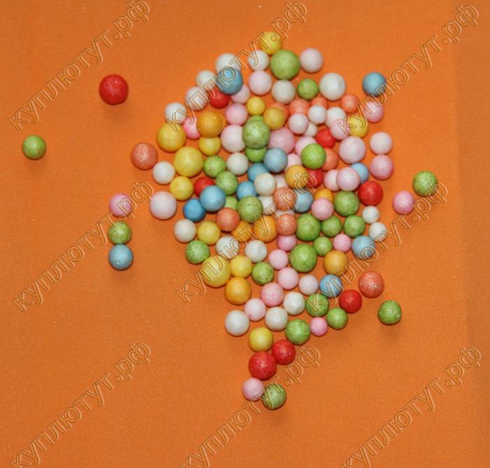 Пенопластовые шарики для рукоделия 7-9мм, цвет микс, 100шт.