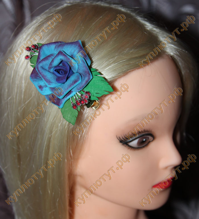 """""""Голубая двухцветная роза"""" на зажиме 6см"""