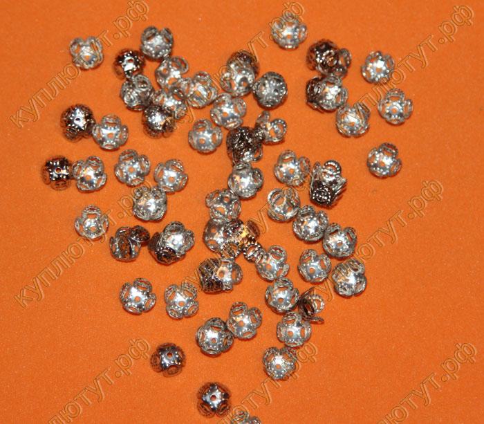 Крышки на бусины, цвет серебро, 10х4мм, 15шт.