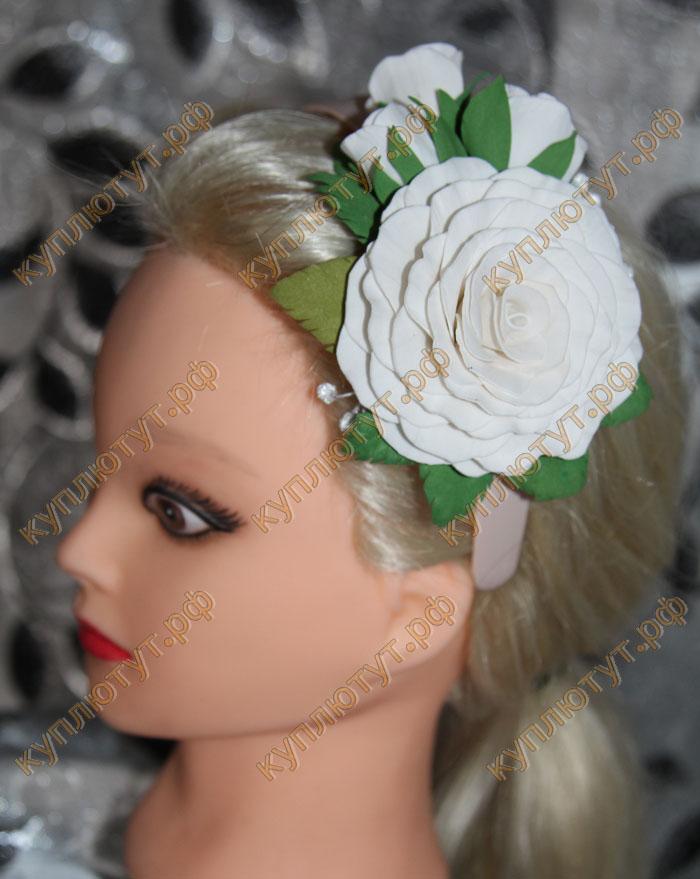 """Ободок """"Белые цветы"""" 1шт."""