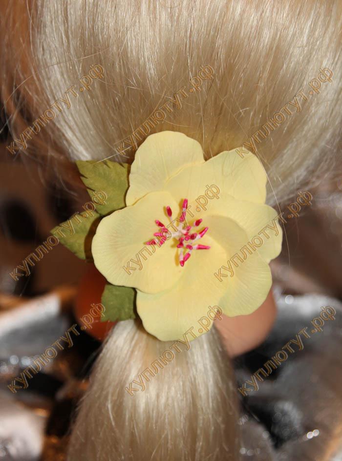 """""""Желтая китайская роза"""" на резинке, 1шт."""