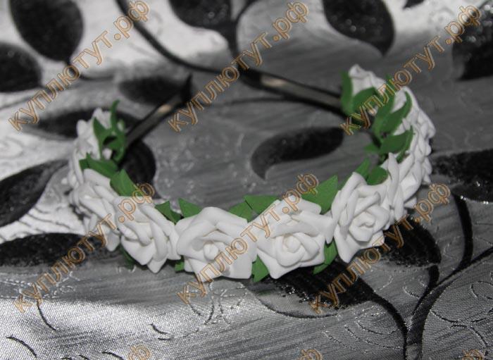 """Ободок """"Белые розы"""" 1шт."""