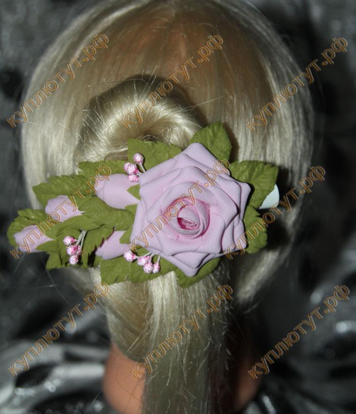 """Розовая роза с бутонами"" на зажиме 12см"