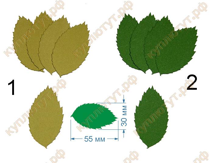 Листья розы 2, 55мм, 5 штук - А10